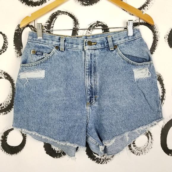 "Lee Pants - Vintage Lee Cut Off Denim Shorts High Waist 29"""